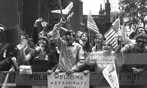 Apollo 11 Parade Sister Kathleen Heagney with children from Our Lady of Mercy Day Camp in Brooklyn and another Group of Brooklynites are among crowd...