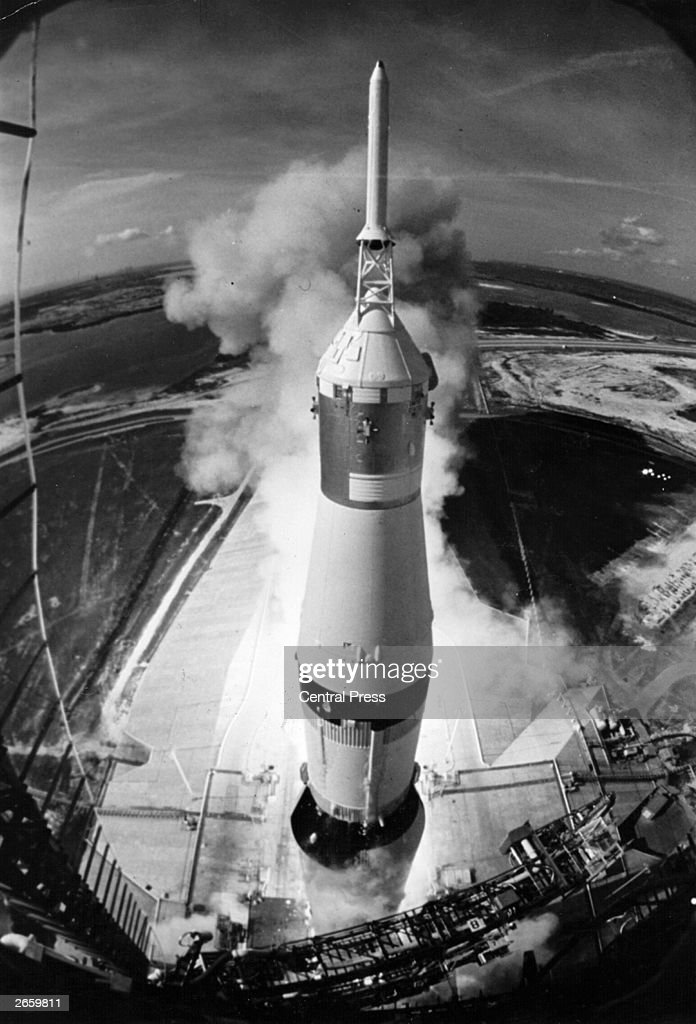 Apollo 11 rises to clear its mobile launcher at pad 39A at the Kennedy Space Centre initiating man's first lunar landing mission