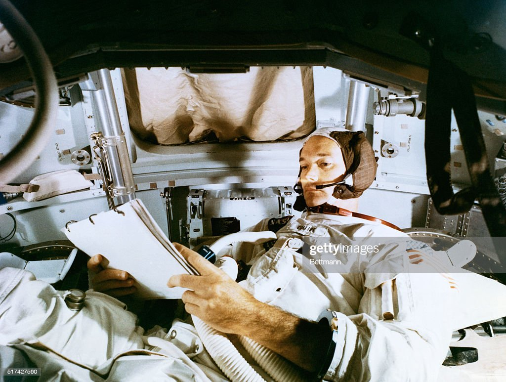 Apollo 11 training...Astronaut <a gi-track='captionPersonalityLinkClicked' href=/galleries/search?phrase=Michael+Collins+-+Astronaut&family=editorial&specificpeople=95470 ng-click='$event.stopPropagation()'>Michael Collins</a>, command module pilot of the Apollo 11 lunar landing mission, studies flight plan during simulation training at the Kennedy Space Center in preparation for the scheduled July 16th mission. The other two crewmen of the historic flight are astronauts Neil A. Armstrong, commander; and Buzz Aldrin, lunar module pilot.