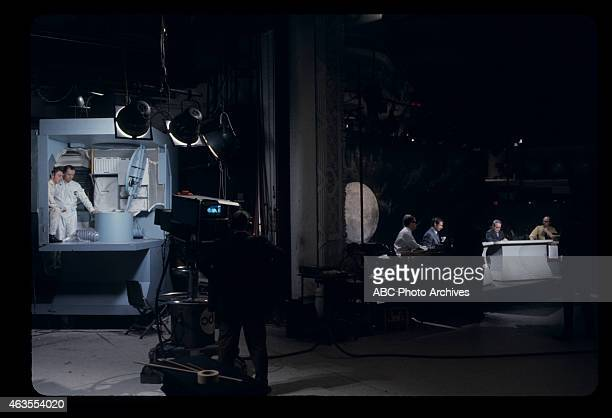 FLIGHTS Apollo 13 Launch Broadcast Coverage Airdate April 11 1970 PRODUCTION SHOT OF JULES BERGMAN AND FRANK REYNOLDS WITH