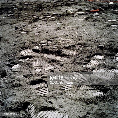 Apollo 17. Lunar foot prints on the moon.