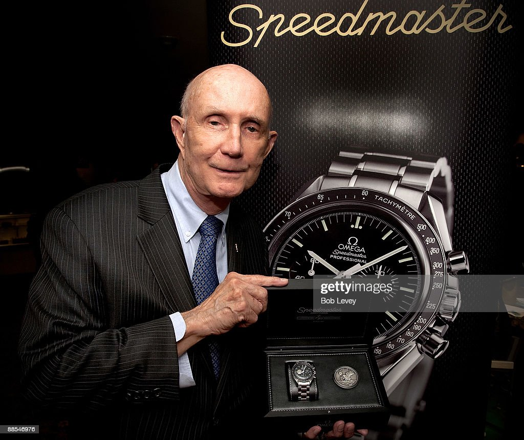 Apollo Astronaut General Thomas Stafford poses with the Omega Speedmaster commemorating the 40th Anniversary of Apollo 11 at a cocktail reception hosted by Omega at the I.W. Marks Jewelers on June 17, 2009 in Houston, Texas.