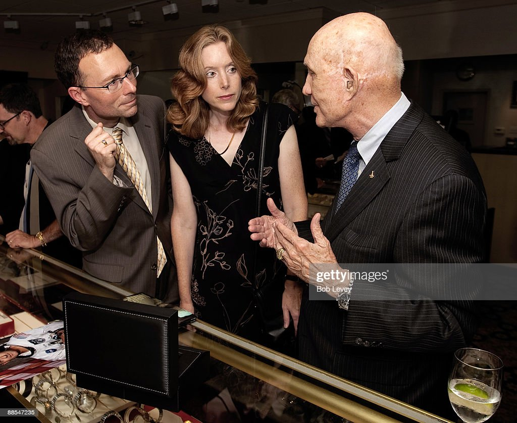 Apollo Astronaut General Thomas Stafford speaks with guest attending a cocktail reception hosted by Omega at the I.W. Marks Jewelers on June 17, 2009 in Houston, Texas.