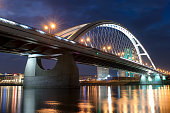 Apollo bridge from Bratislava in the evening