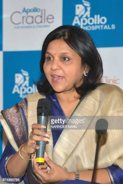 Apollo Health and Lifestyle Limited Chairperson and Managing Director Sangita Reddy addresses the media during a press conference in Amritsar on...