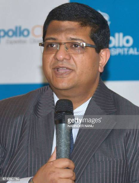 Apollo Health and Lifestyle Limited Chief Executive Officer Neeraj Garg addresses the media during a press conference in Amritsar on April 28 2017 /...