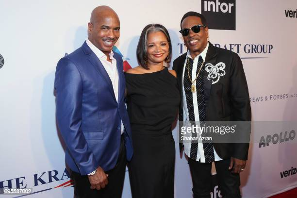Apollo Music Director Ray Chew President and CEO of the Apollo Theater Foundation Joenelle Procope and singer Charlie Wilson attend Apollo Spring...