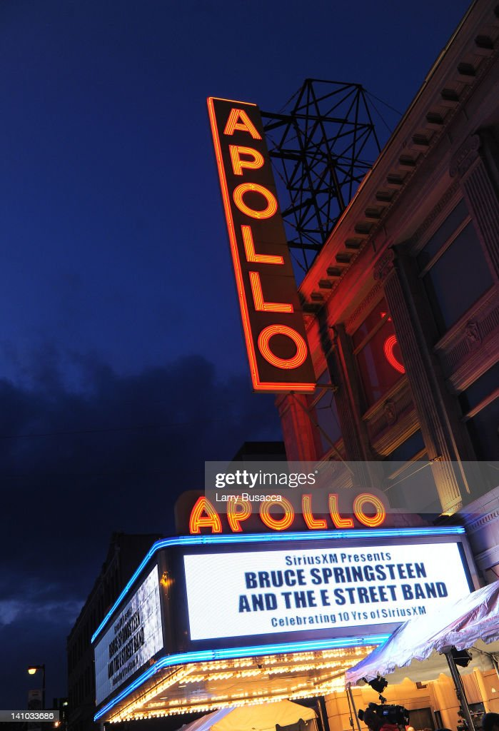 Apollo Theater Marquee outside SiriusXM's concert celebrating 10 years of satellite radio at The Apollo Theater on March 9 2012 in New York City