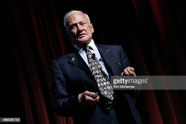 Apollo XI astronaut Buzz Aldrin speaks at the Humans to Mars Summit on April 22 2014 at George Washington University in Washington DC With the goal...