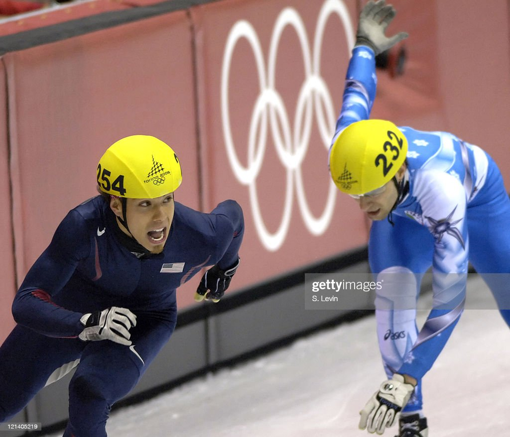 Apolo Anton Ohno in action during the Short Track Speed Skating 5000 m Relay at the 2006 Olympic Games held at the Palavela in Torino Italy on...