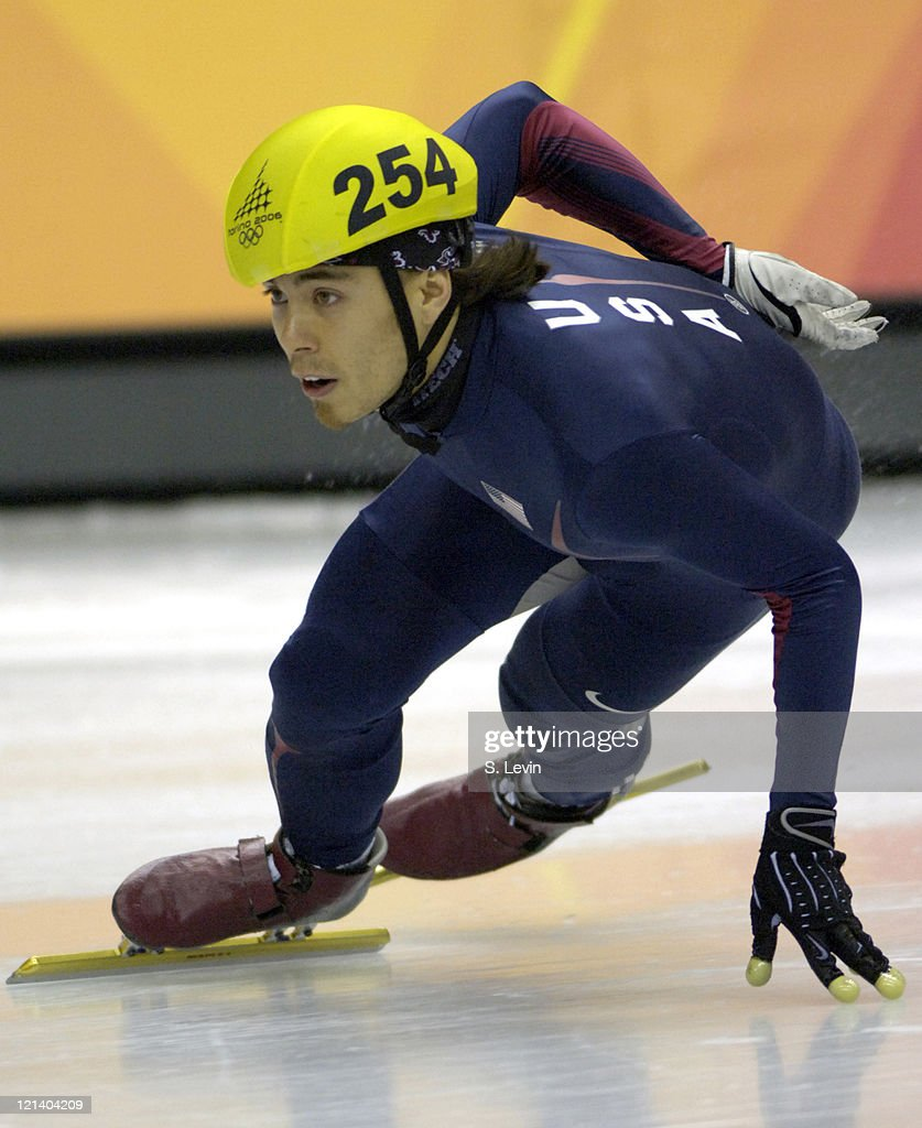 Apolo Anton Ohno of the United States during the Men's 500 m in the 2006 Winter Olympic Games at the Palavela in Torino Italy on February 22 2006