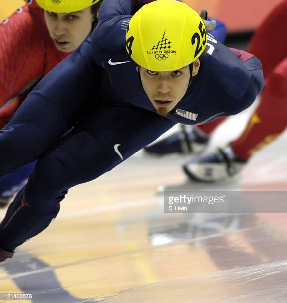 Apolo Anton Ohno of the United States in action during the Men's Short Track 1000 m at the Palavela during the 2006 Olympic Games in Torino Italy on...