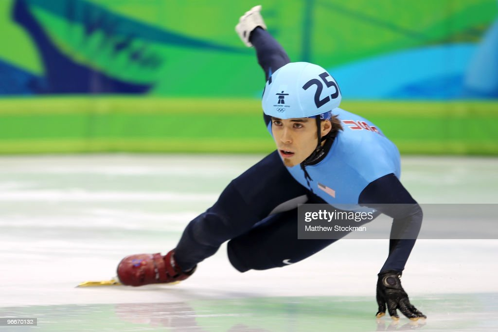Apolo Anton Ohno of United States races in a heat of the men's 1500 m men's short track on day 2 of the Vancouver 2010 Winter Olympics at Pacific...
