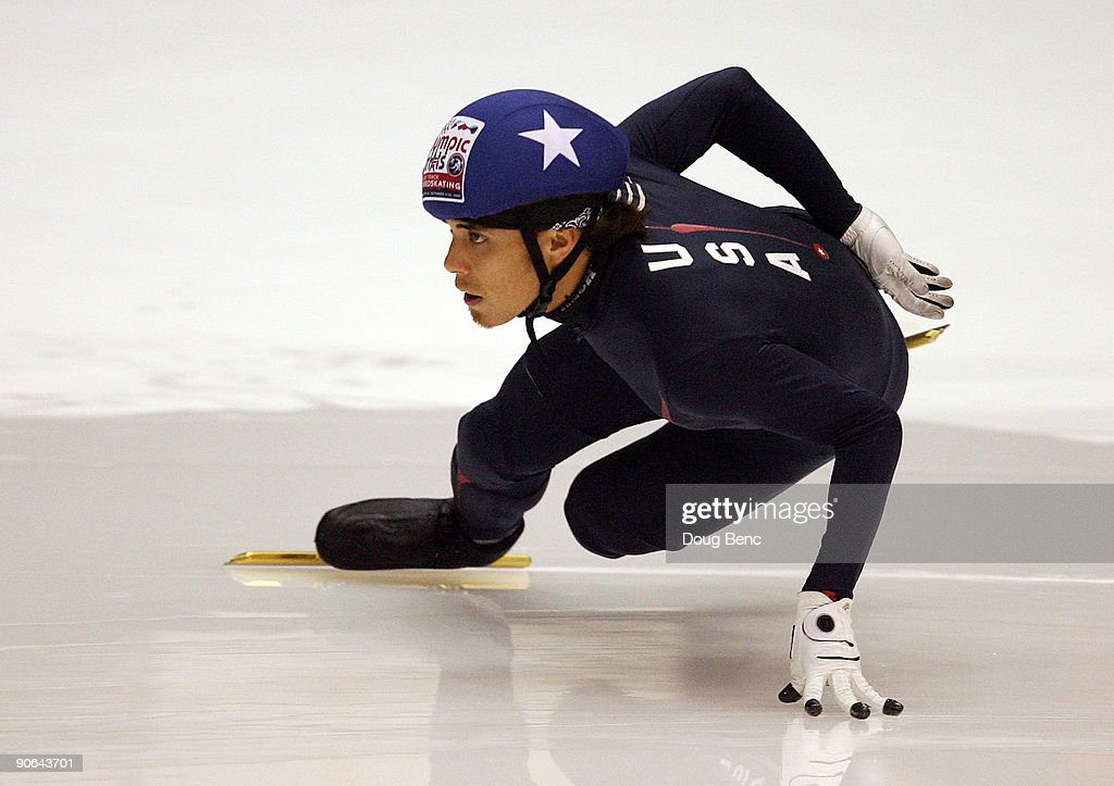 Apolo Anton Ohno skates during the 500 Meter Semifinals at the US Short Track Speedskating Championships at the Berry Events Center on September 12...