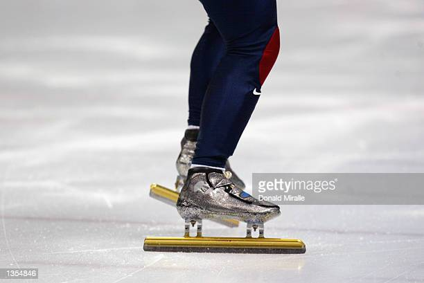Apolo Anton Ohno's skates as he lines up at the start of the men's 500m short track during the Salt Lake City Winter Olympic Games on February 23...