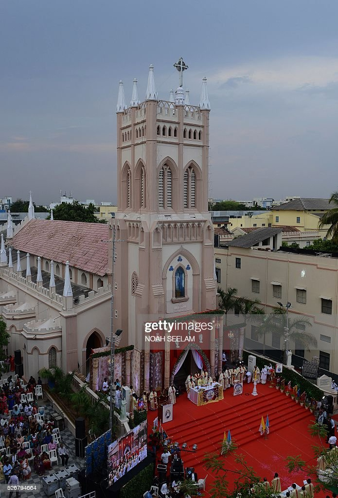 Apostolic Nuncio to India The Most Reverend Salvatore Pennacchio(C)participates with others in the 175 year (Quartoseptcentennial) jubilee celebrations of Saint Mary's Basilica in Secunderabad, the twin city of Hyderabad on May 1, 2016. Saint Mary's Basilica was built in 1840, and has been raised to the status of minor Basilica, in the southern Indian states of Telangana and Andhra Pradesh. / AFP / NOAH