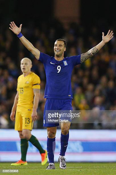 Apostolos Vellios of Greece celebrates a goal by Ioannis Maniatis during the International Friendly match between the Australian Socceroos and Greece...