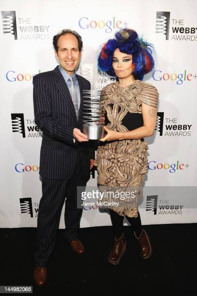App designer Scott Snibbe and Artist of the Year Bjork attend the 16th Annual Webby Awards on May 21 2012 in New York City