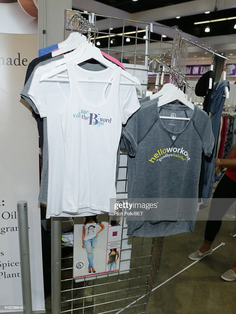 Apparel is seen at the Fan Fest during the 2016 BET Experience on June 26, 2016 in Los Angeles, California.
