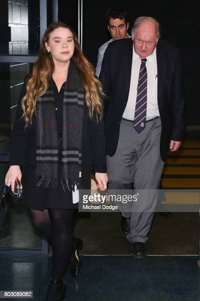 Appeals Board member Brian Collis QC arrives for the AFL appeal against the Bachar Houli two week suspension at AFL House on June 29 2017 in...