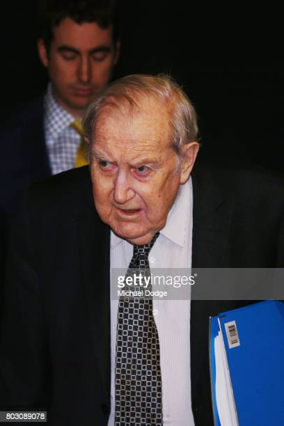 Appeals Board member Peter O'Callaghan QC arrives for the AFL appeal against the Bachar Houli two week suspension at AFL House on June 29 2017 in...