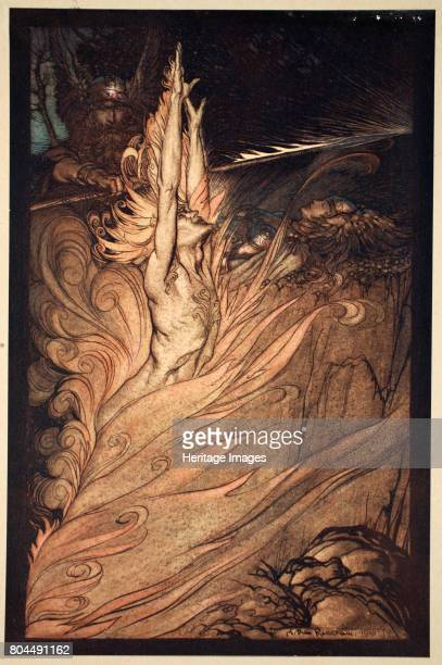 Appear flickering fire Encircle the rock with thy flame Loge Loge Appear' 1910 Illustration from The Rhinegold and the Valkyrie Wotan summons Loge...