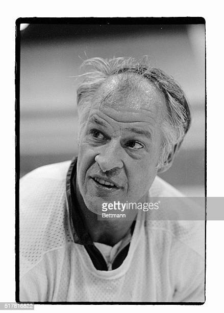 Appearing tired and sweaty after a 9/28 team workout Gordie Howe the oldest active player in professional hockey and the sports leading scorer says...