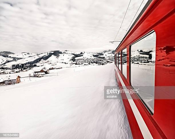 Appenzeller Bahnen im wunderbaren Schweizer winter-Landschaft