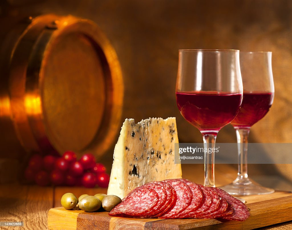 Appetizers with wine : Stock Photo