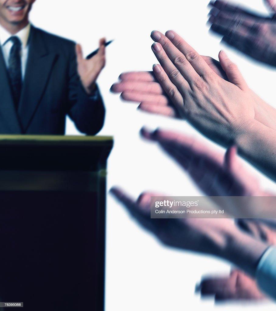 Applause for public speaker : Stock Photo