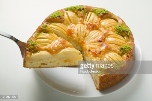 Apple Cake With Chopped Pistachios A Slice Cut Stock Photo ...