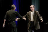 Apple CEO Steve Jobs and Paul Otellini CEO of Intel greet each other during the Apple Worldwide Developers conference June 6 2005 at the Moscone...