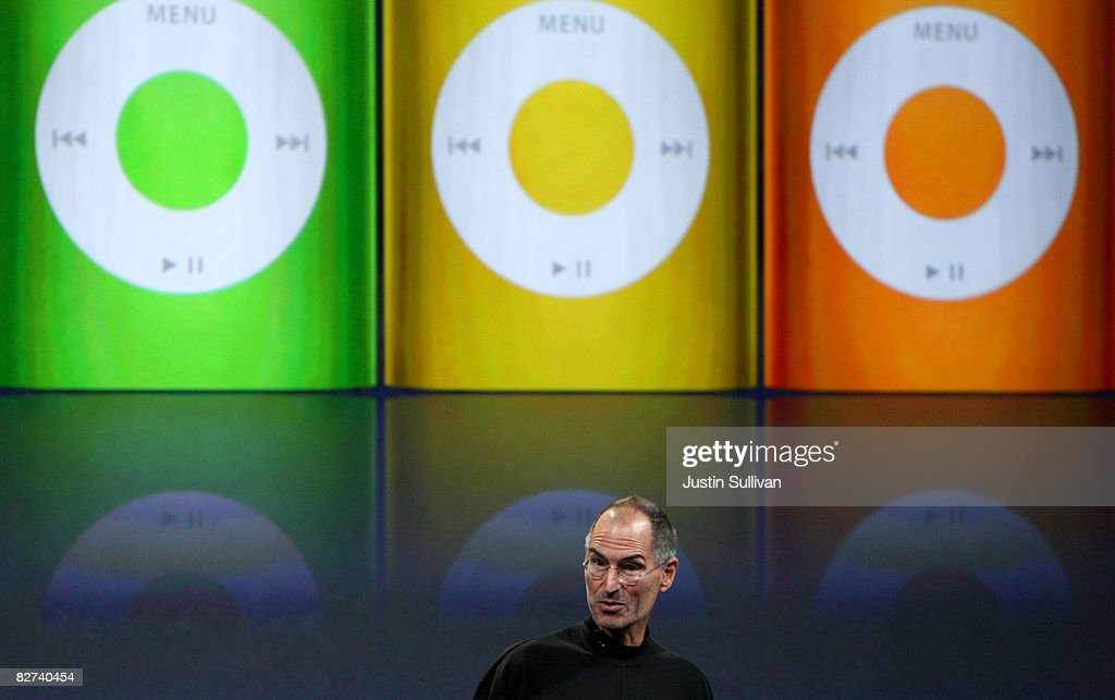 Apple CEO Steve Jobs announces a new version of the iPod Nano during a special event September 9, 2008 in San Francisco, California. Jobs announced a new version of the popular iTunes software and a new iPod Nano.