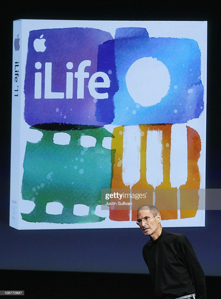 Apple CEO <a gi-track='captionPersonalityLinkClicked' href=/galleries/search?phrase=Steve+Jobs&family=editorial&specificpeople=204493 ng-click='$event.stopPropagation()'>Steve Jobs</a> announces iLife 11 as he speaks during an Apple special event at the company's headquarters on October 20, 2010 in Cupertino, California. Apple announced a new version of it's iLife suite and is expected to announce a new operating system for its Mac computers.
