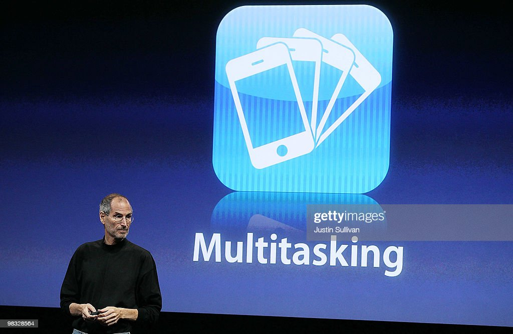 Apple CEO <a gi-track='captionPersonalityLinkClicked' href=/galleries/search?phrase=Steve+Jobs&family=editorial&specificpeople=204493 ng-click='$event.stopPropagation()'>Steve Jobs</a> announces multitasking available on the new iPhone OS4 during an Apple special event April 8, 2010 in Cupertino, California. Jobs announced the new iPhone OS4 software.