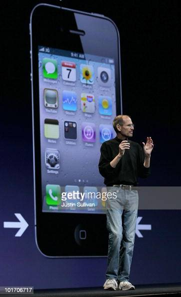 Apple CEO Steve Jobs announces the new iPhone 4 as he delivers the opening keynote address at the 2010 Apple World Wide Developers conference June 7...