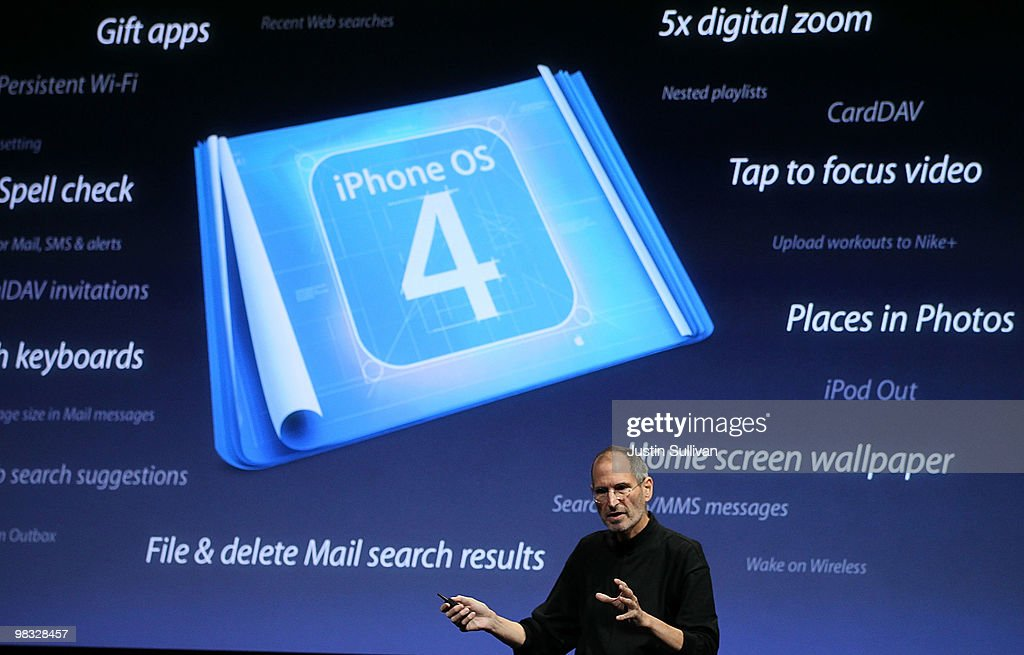 Apple CEO <a gi-track='captionPersonalityLinkClicked' href=/galleries/search?phrase=Steve+Jobs&family=editorial&specificpeople=204493 ng-click='$event.stopPropagation()'>Steve Jobs</a> announces the new iPhone OS4 software during an Apple special event April 8, 2010 in Cupertino, California. Jobs announced the new iPhone OS4 software.