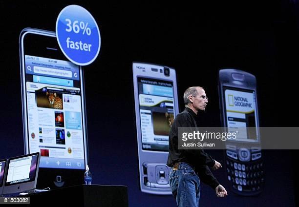 Apple CEO Steve Jobs compares the new iPhone 3G to other cell phones as he delivers the keynote address at the Apple Worldwide Web Developers...