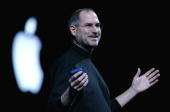 Apple CEO Steve Jobs delivers a keynote address at the 2005 Macworld Expo January 11 2005 in San Francisco California
