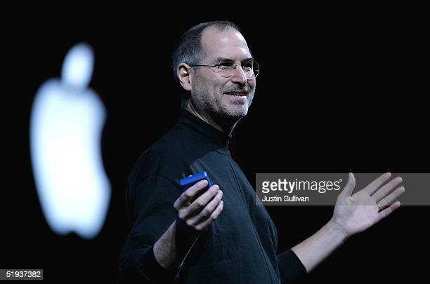 Apple CEO Steve Jobs delivers a keynote address at the 2005 Macworld Expo January 11 2005 in San Francisco California