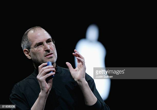 Apple CEO Steve Jobs delivers a keynote address at the 2005 Macworld Expo January 11 2005 in San Francisco California Jobs announced several new...
