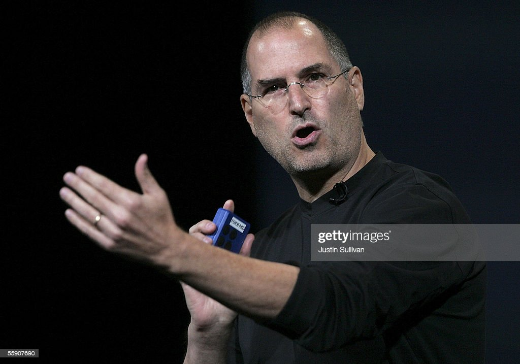 Apple CEO <a gi-track='captionPersonalityLinkClicked' href=/galleries/search?phrase=Steve+Jobs&family=editorial&specificpeople=204493 ng-click='$event.stopPropagation()'>Steve Jobs</a> delivers a keynote address October 12, 2005 in San Jose, California. Apple CEO <a gi-track='captionPersonalityLinkClicked' href=/galleries/search?phrase=Steve+Jobs&family=editorial&specificpeople=204493 ng-click='$event.stopPropagation()'>Steve Jobs</a> announced a new iPod that plays video, a new iMac and new version of iTunes that allows people to purchase videos and television shows.