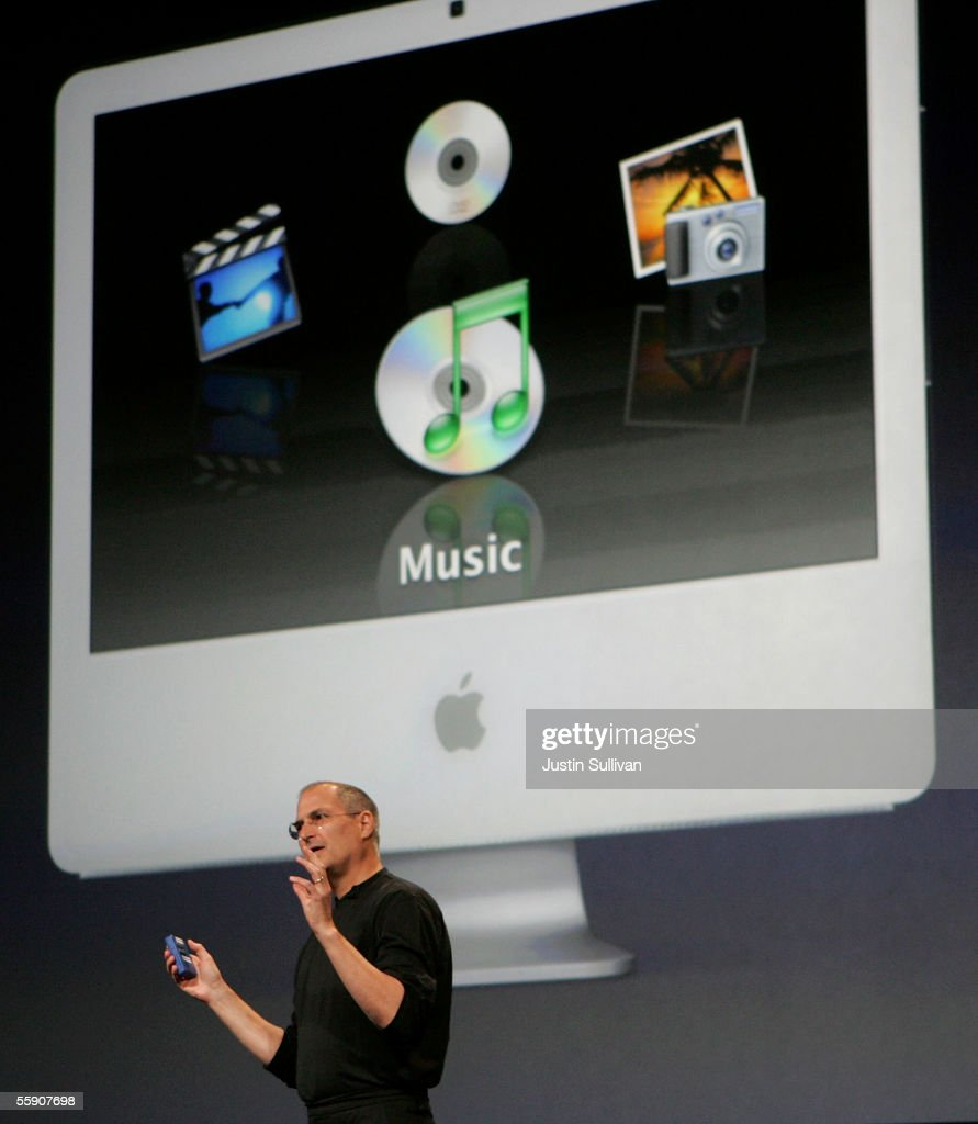 Apple CEO Steve Jobs delivers a keynote address October 12, 2005 in San Jose, California. Apple CEO Steve Jobs announced a new iPod that plays video, a new iMac and new version of iTunes that allows people to purchase videos and television shows.