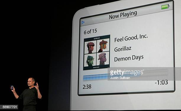 Apple CEO Steve Jobs delivers a keynote address October 12 2005 in San Jose California Apple CEO Steve Jobs announced a new iPod that plays video a...