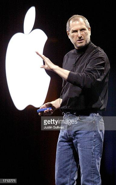 Apple CEO Steve Jobs delivers the keynote address at Macworld January 7 2003 in San Francisco Jobs announced new 17inch and 12inch powerbooks as well...