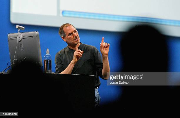 Apple CEO Steve Jobs delivers the keynote address at the 2004 Worldwide Developers Conference June 28 2004 in San Francisco California Jobs announced...