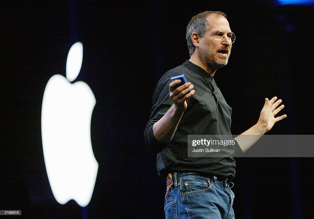 Apple CEO <a gi-track='captionPersonalityLinkClicked' href=/galleries/search?phrase=Steve+Jobs&family=editorial&specificpeople=204493 ng-click='$event.stopPropagation()'>Steve Jobs</a> delivers the keynote address at the Worldwide Developers Conference June 23, 2003 in San Francisco. Jobs announced the new Power Mac G5 desktop computer as well as software upgrades.