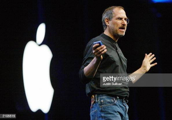 Apple CEO Steve Jobs delivers the keynote address at the Worldwide Developers Conference June 23 2003 in San Francisco Jobs announced the new Power...