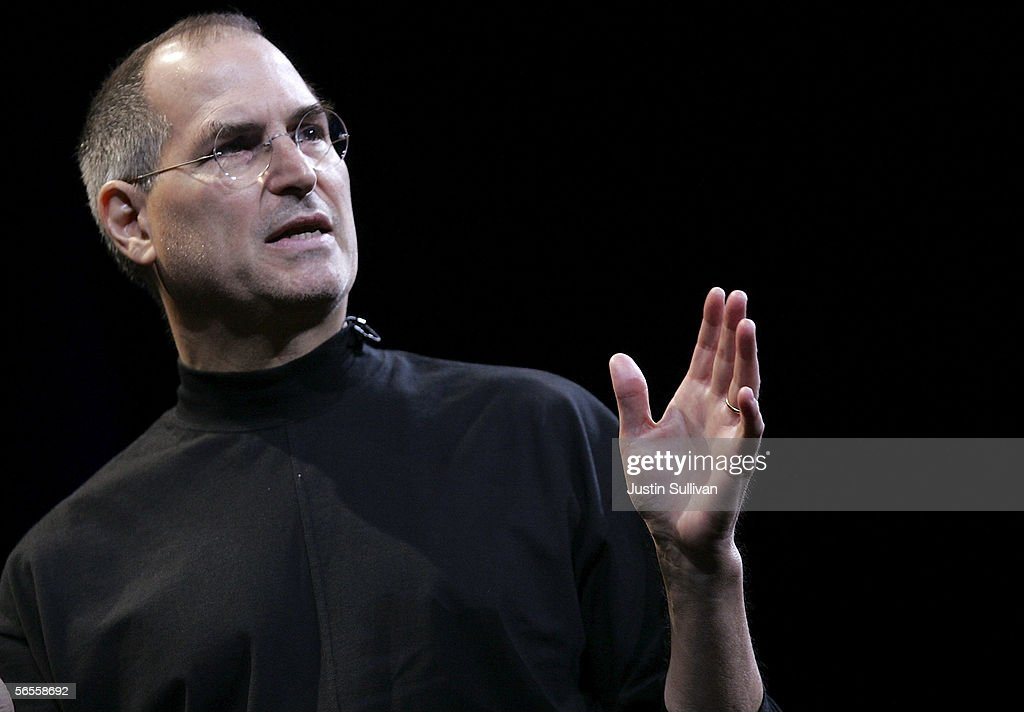 Apple CEO <a gi-track='captionPersonalityLinkClicked' href=/galleries/search?phrase=Steve+Jobs&family=editorial&specificpeople=204493 ng-click='$event.stopPropagation()'>Steve Jobs</a> delivers the keynote address during the 2006 Macworld January 10, 2006 in San Francisco, California. Jobs announced a new iMac with Intel Core Duo processor as well as the new MacBook Pro laptop.