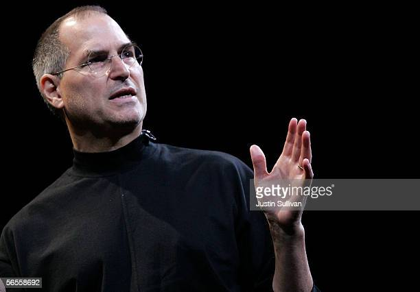 Apple CEO Steve Jobs delivers the keynote address during the 2006 Macworld January 10 2006 in San Francisco California Jobs announced a new iMac with...